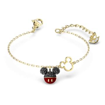 Mickey Armband, schwarz, vergoldet - Swarovski, 5566689