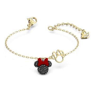 Minnie-armband, Zwart, Goudkleurige toplaag - Swarovski, 5566690