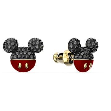 Τρυπητά σκουλαρίκια Mickey, μαύρα, επιχρυσωμένα - Swarovski, 5566691