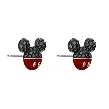 Mickey 穿孔耳环, 黑色, 镀金色调 - Swarovski, 5566691