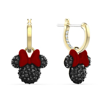 Τρυπητά σκουλαρίκια κρίκοι Minnie, μαύρα, επιχρυσωμένα - Swarovski, 5566692