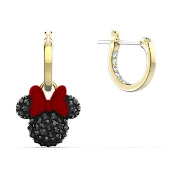 Orecchini a cerchio Minnie, nero, placcato color oro - Swarovski, 5566692