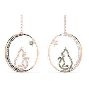 Cattitude 大圈耳環, 貓、月亮和星星, 漸層色, 多種金屬潤飾 - Swarovski, 5566724