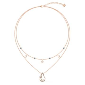 Cattitude 雙層項鍊, 貓和星星, 漸層色, 鍍玫瑰金色調 - Swarovski, 5566726