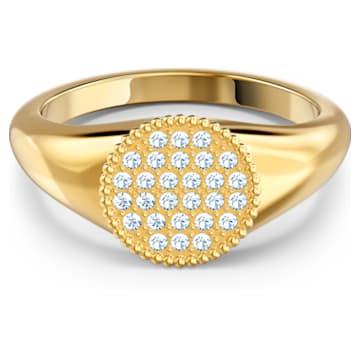 Anello a sigillo Ginger, bianco, placcato color oro - Swarovski, 5567527