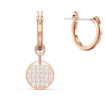 Ginger hoop earrings, White, Rose gold-tone plated - Swarovski, 5567528