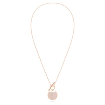 Κολιέ Ginger T Bar, λευκό, επιχρυσωμένο με ροζ χρυσό - Swarovski, 5567529