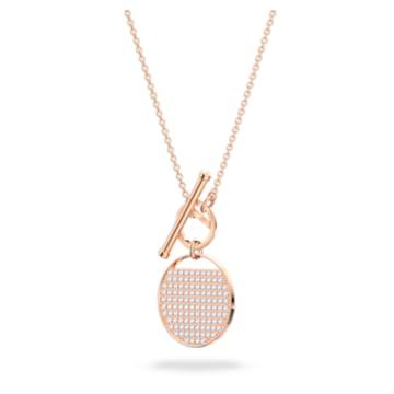 Collana Ginger T Bar, Bianco, Placcato color oro rosa - Swarovski, 5567529