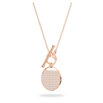 Ginger T Bar 项链, 白色, 镀玫瑰金色调 - Swarovski, 5567529