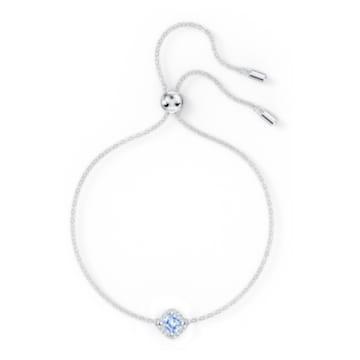 Angelic Cushion 手鏈, 藍色, 鍍白金色 - Swarovski, 5567933
