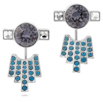 Boucles d'Oreilles « Ear-Jacket » Karl Lagerfeld, bleu, métal plaqué palladium - Swarovski, 5568601