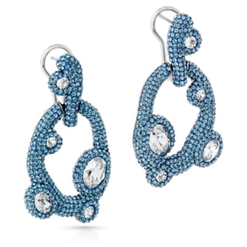 Tigris Pierced Earrings, Aqua, Palladium plated - Swarovski, 5568611