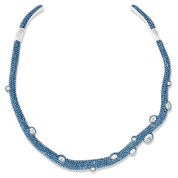 Collier torque Tigris, Gouttes d'eau, Bleu, métal plaqué palladium - Swarovski, 5568616