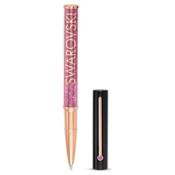 Kuličkové pero Crystalline Gloss, černé a růžové, pozlacené růžovým zlatem - Swarovski, 5568755