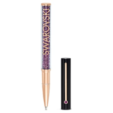 Crystalline Gloss Ballpoint Pen, Black and purple, Rose-gold tone plated - Swarovski, 5568758