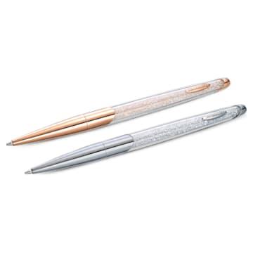 Parure stylo à bille Crystalline Nova, blanc, finition mix de métal - Swarovski, 5568760