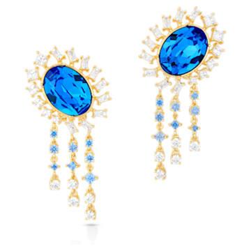 Icons of Film Pierced Earrings, Blue, Gold-tone plated - Swarovski, 5569083