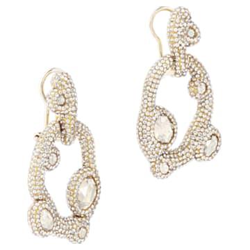 Tigris 穿孔耳環, 水滴, 白色, 鍍金色色調 - Swarovski, 5569110