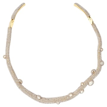 Tigris torque necklace, Water droplets, White, Gold-tone plated - Swarovski, 5569140