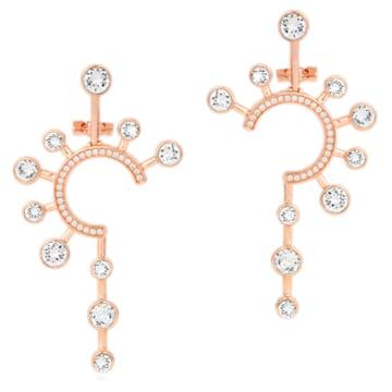Boucles d'oreilles Theater Statement, blanc, métal doré rose - Swarovski, 5569151