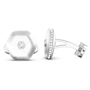 Theo Air Element Cufflinks, White, Rhodium plated - Swarovski, 5569154