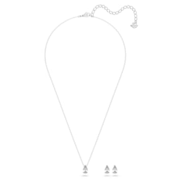 Attract set, Pear cut crystal, White, Rhodium plated - Swarovski, 5569174
