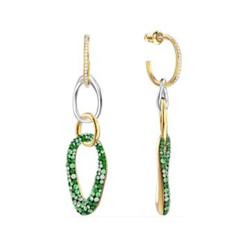 Pendientes The Elements, verde, combinación de acabados metálicos - Swarovski, 5569183