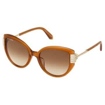 Fluid Cat Eye Sunglasses, SK0272-P, Brown - Swarovski, 5569897