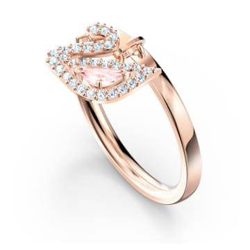 Inel Dazzling Swan, roz, placat în nuanțe de aur roz - Swarovski, 5569922