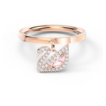 Anel Dazzling Swan, rosa, banhado a rosa dourado - Swarovski, 5569923