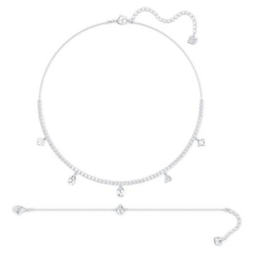 Tennis Deluxe 套裝, 混合切割水晶, 白色, 鍍白金色 - Swarovski, 5570195