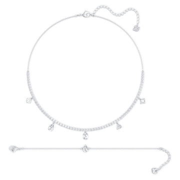 Tennis Deluxe Mixed 套装, 白色, 镀铑 - Swarovski, 5570195