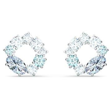 Attract Circle Stud Pierced Earrings, Rhodium plated - Swarovski, 5570943