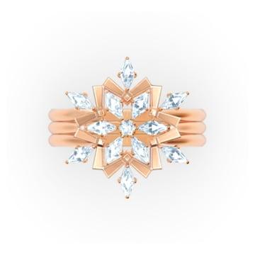 Set de inele Magic, alb, placat în nuanțe de aur roz - Swarovski, 5572492