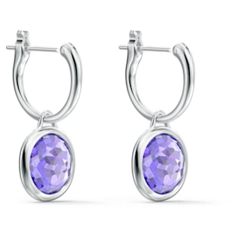 Tahlia Mini Hoop Pierced Earrings, Purple, Rhodium plated - Swarovski, 5572586