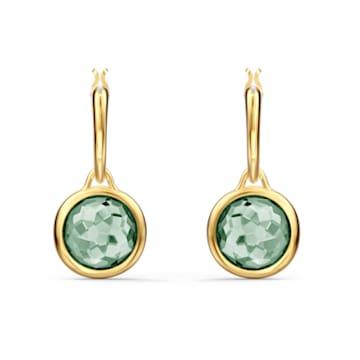 Tahlia bedugós mini karika fülbevaló, zöld, arany árnyalatú bevonattal - Swarovski, 5572587