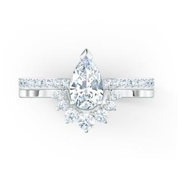 Conjunto de anillos Attract Pear, blanco, baño de rodio - Swarovski, 5572656