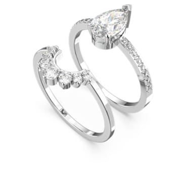 Attract Pear Ring Set, White, Rhodium plated - Swarovski, 5572668