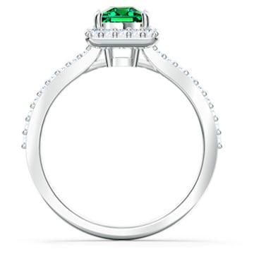 Angelic Rectangular Ring, Green, Rhodium plated - Swarovski, 5572669