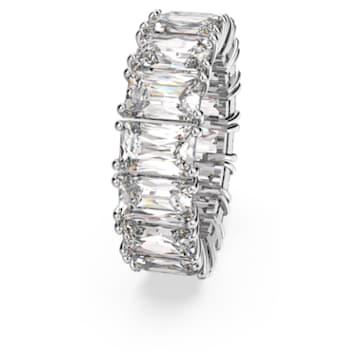 Pierścionek szeroki Vittore, biały, powlekany rodem - Swarovski, 5572689
