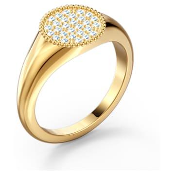 Anello a sigillo Ginger, bianco, placcato color oro - Swarovski, 5572698