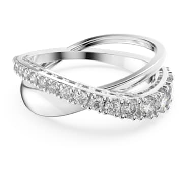 Twist Rows ring, White, Rhodium plated - Swarovski, 5572710