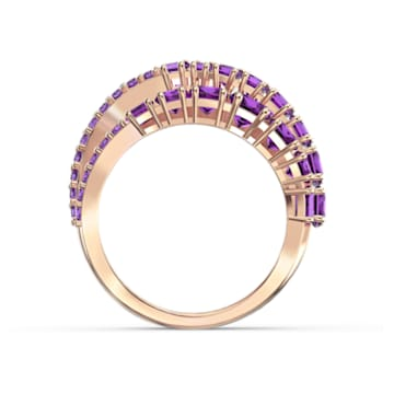Twist Wrap Ring, Purple, Rose-gold tone plated - Swarovski, 5572720
