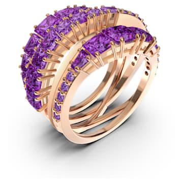 Inel împletit Twist, mov, placat cu nuanță de aur roz - Swarovski, 5572720