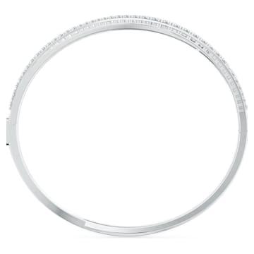 Rzędowa bransoletka Twist, biała, powlekana rodem - Swarovski, 5572725