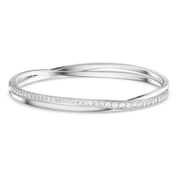 Twist Rows Bracelet, White, Rhodium plated - Swarovski, 5572726
