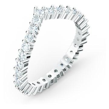 Pierścionek w kształcie litery V Vittore, biały, powlekany rodem - Swarovski, 5572815