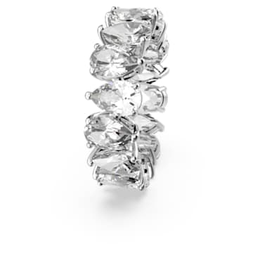 Vittore Pear Ring, White, Rhodium plated - Swarovski, 5572824