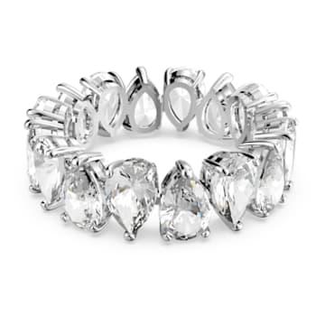 Vittore Pear Ring, weiss, rhodiniert - Swarovski, 5572825