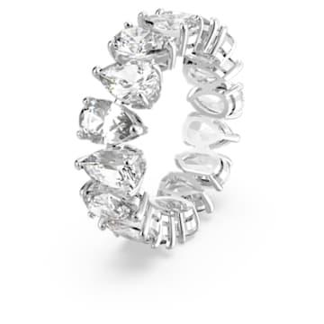 Vittore Pear Ring, White, Rhodium plated - Swarovski, 5572825